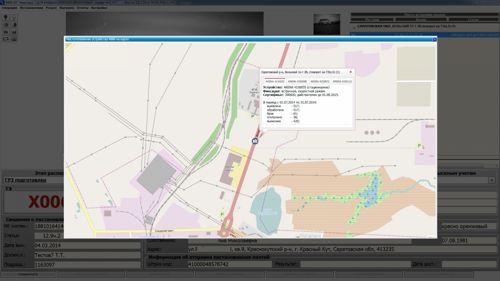 Рисунок 9. Отображение специального технического средства фиксации и статистических данных о его работе на картографической схеме