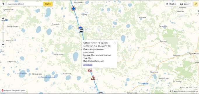 Отображение объектов на карте